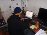 Andrew hard at work in the research hut.
